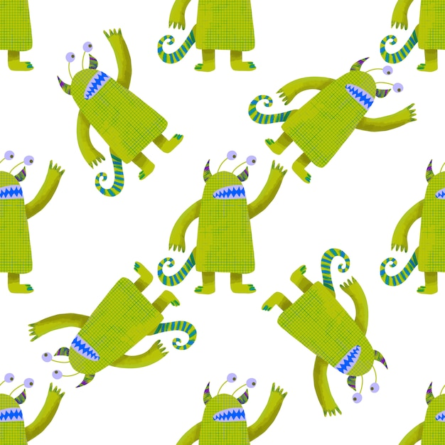 Seamless pattern cute green monsters. kids graphic illustration. wallpaper, wrapping paper Premium Vector