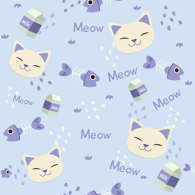 Seamless pattern of cute head of cat with fishbone and milk box Premium Vector