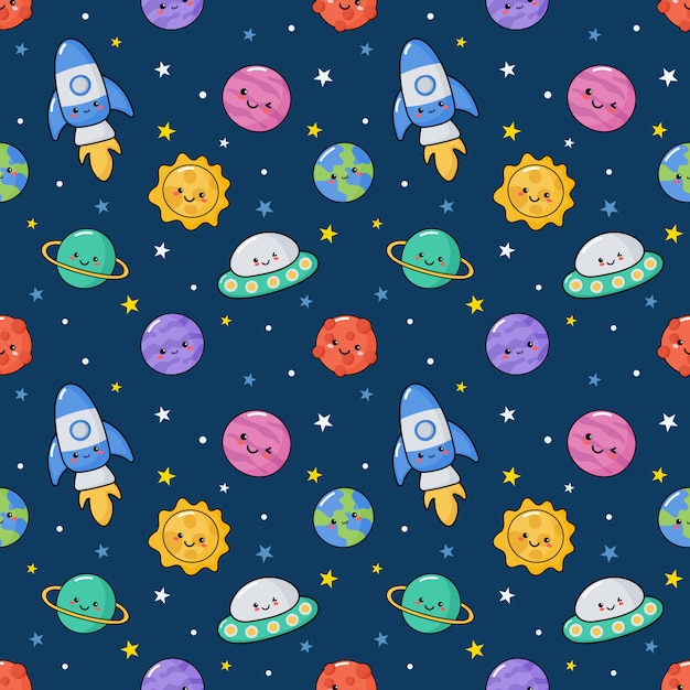 Seamless pattern cute kawaii space. Premium Vector