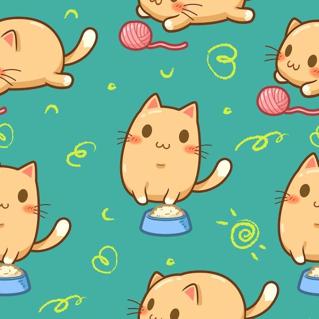 Seamless pattern cute orange cat Premium Vector