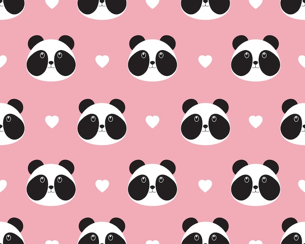 Seamless pattern of cute panda face with heart Premium Vector