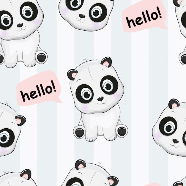 Seamless pattern cute panda say hello Premium Vector