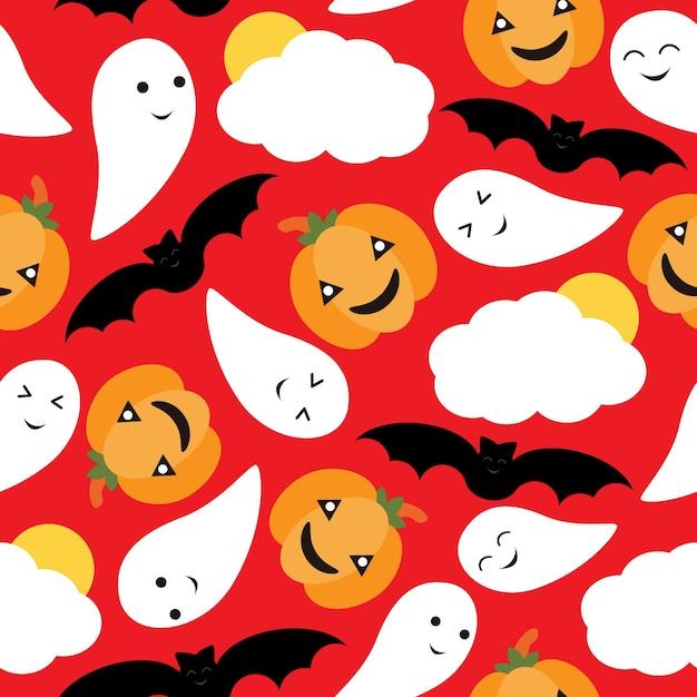 Premium Vector Seamless Pattern Of Cute Pumpkin Bat And Ghost Vector Cartoon On Red Background Halloween Wallpaper Scrap Paper And Postcard T Shirt Design For Kids