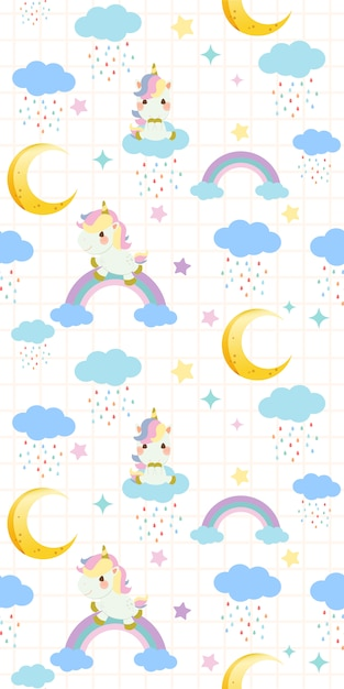 Seamless pattern of cute rainbow unicorn sitting on a rainbow on white background Premium Vector