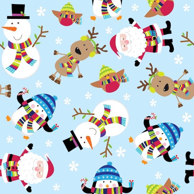 Seamless pattern of cute santa and friends Premium Vector