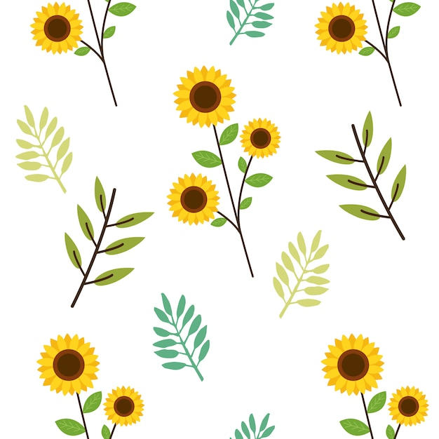 The seamless pattern of cute sunflower and leaves in flat   style. Premium Vector