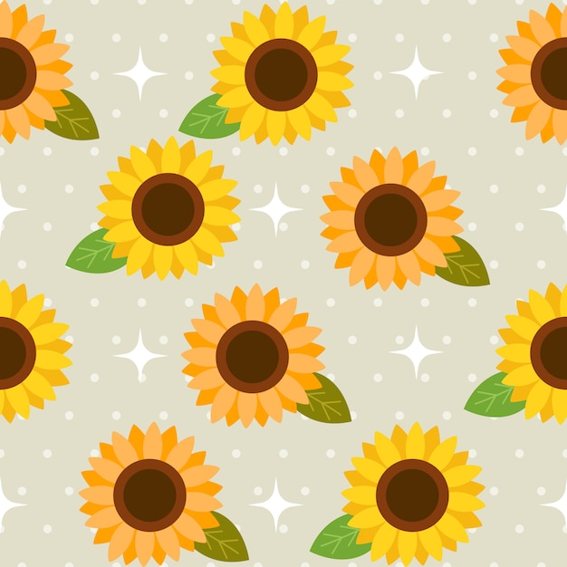 The seamless pattern of cute sunflower and polka dot Premium Vector