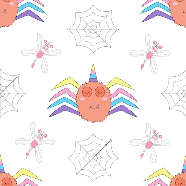 Seamless pattern cute unicorn cartoon hand drawn style. Premium Vector