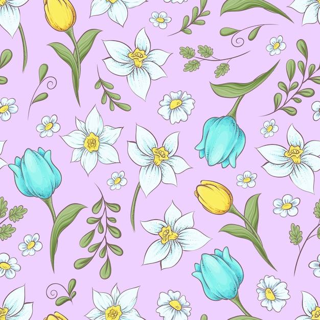Seamless pattern of daffodils tulips. Premium Vector