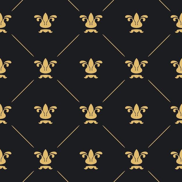 원활한 패턴 장식. 황금 요소와 검은 배경. 무료 벡터