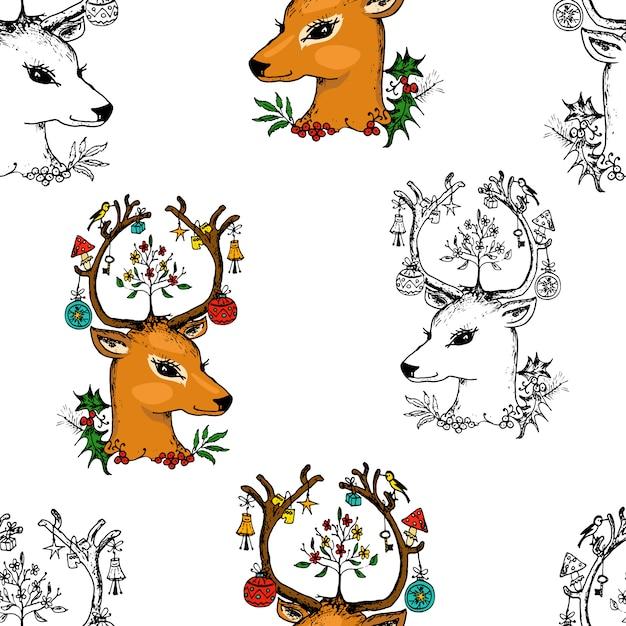 원활한 패턴 사슴과 크리스마스 동물. 새해. 겨울 방학. 엽서에 대 한 오래 된 스케치와 빈티지 스타일에 그려진 새겨진 손. 프리미엄 벡터