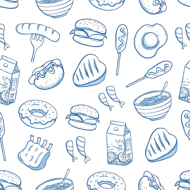Seamless pattern of delicious food with doodle or hand drawn style Premium Vector