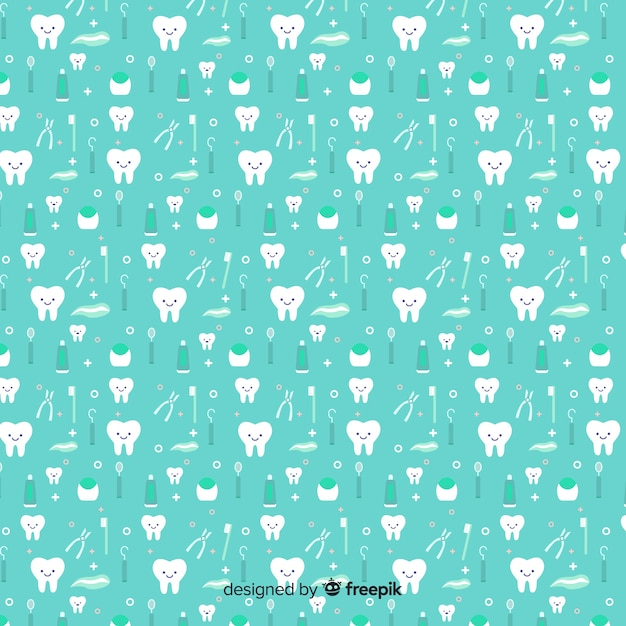 Seamless pattern design for dental clinic Free Vector