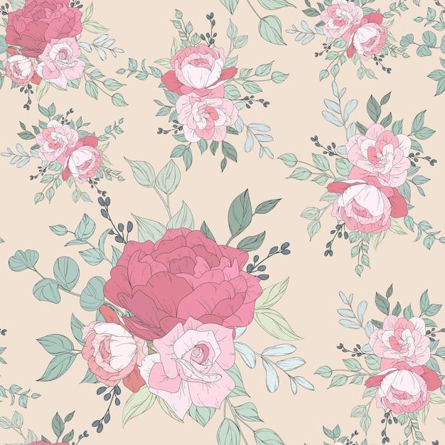 Бесшовный узор с красивыми цветочными Бесплатные векторы