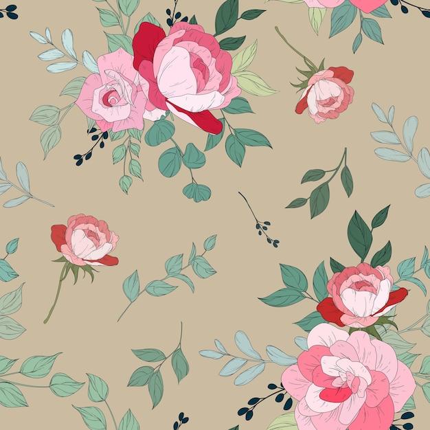 美しい花柄のシームレスなパターンデザイン 無料ベクター