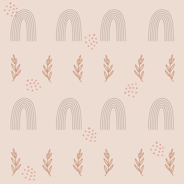 무지개와 꽃 가지와 완벽 한 패턴 디자인 프리미엄 벡터
