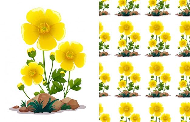 Бесшовные шаблон дизайна с желтыми цветами и зелеными листьями Бесплатные векторы