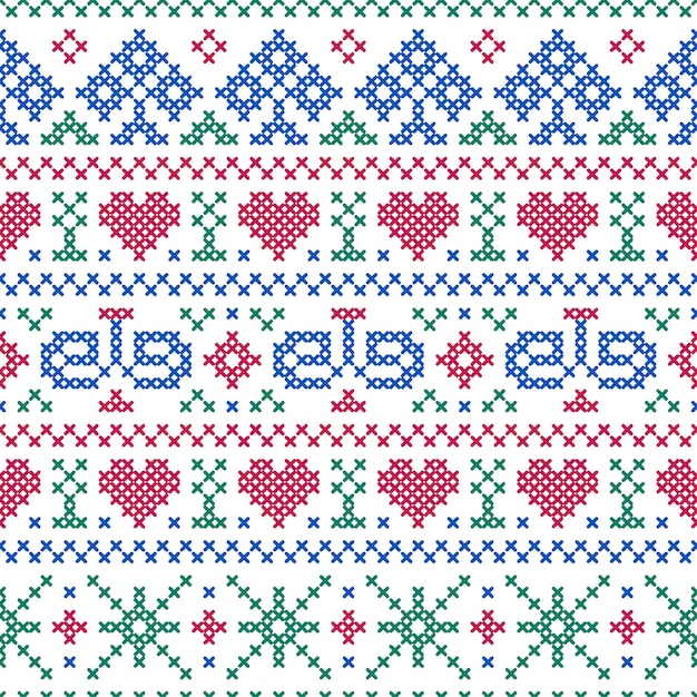 Seamless pattern embroidery cross-stitch style Premium Vector