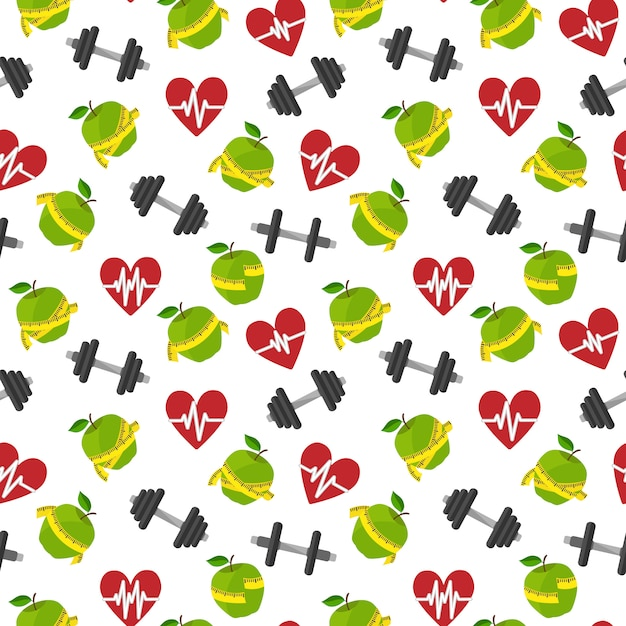 Seamless pattern fitness healthy lifestyle with heart apple barbells vector illustration Free Vector