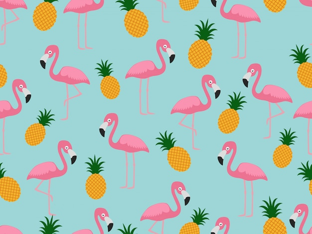 Seamless pattern of flamingo with pineapple Premium Vector
