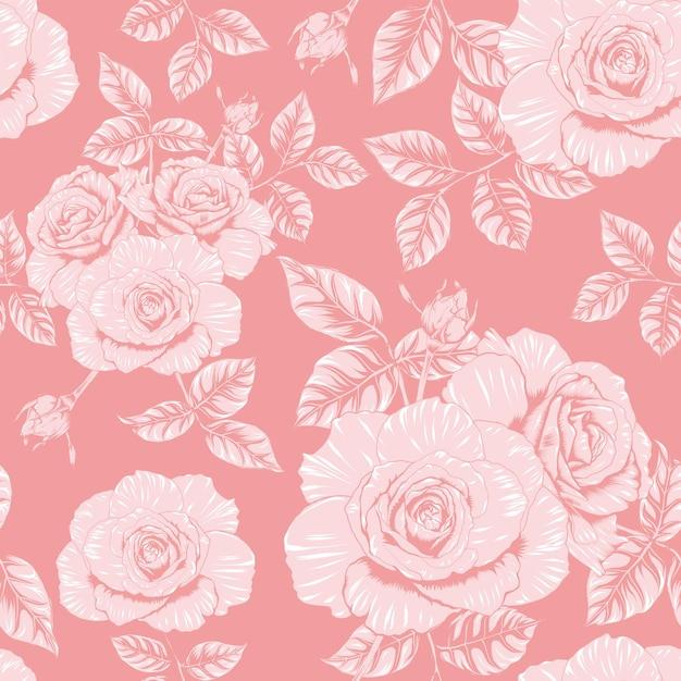 シームレスなパターン花柄ピンクバラの花ヴィンテージ抽象的な背景 Premiumベクター