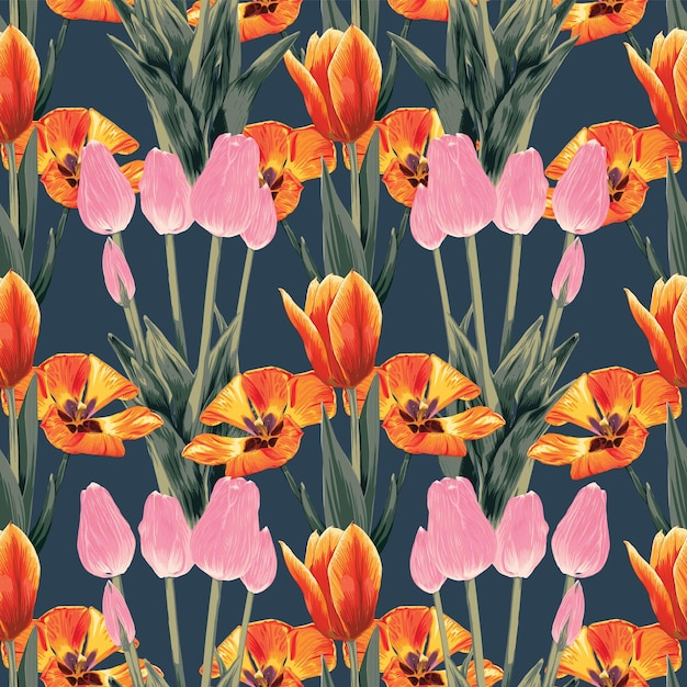 Seamless pattern floral tulip flowers abstract.vector illustration watercolor drawing style. Premium Vector