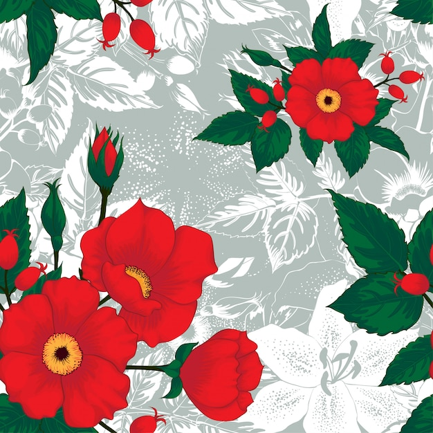 Seamless pattern floral white lily, red rose wildflowers on abstract background. Premium Vector