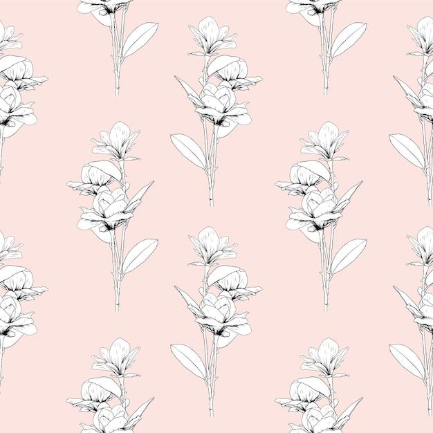 ピンクのパステルカラーの背景にマグノリアの花と花のシームレスなパターン Premiumベクター