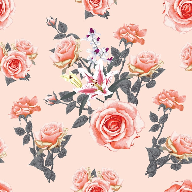 Seamless pattern floral with pink pastel rose and lily flowers abstract background. Premium Vector