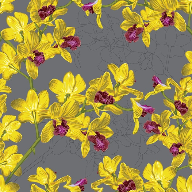 Seamless pattern floral with yellow orchid flowers abstract background. Premium Vector