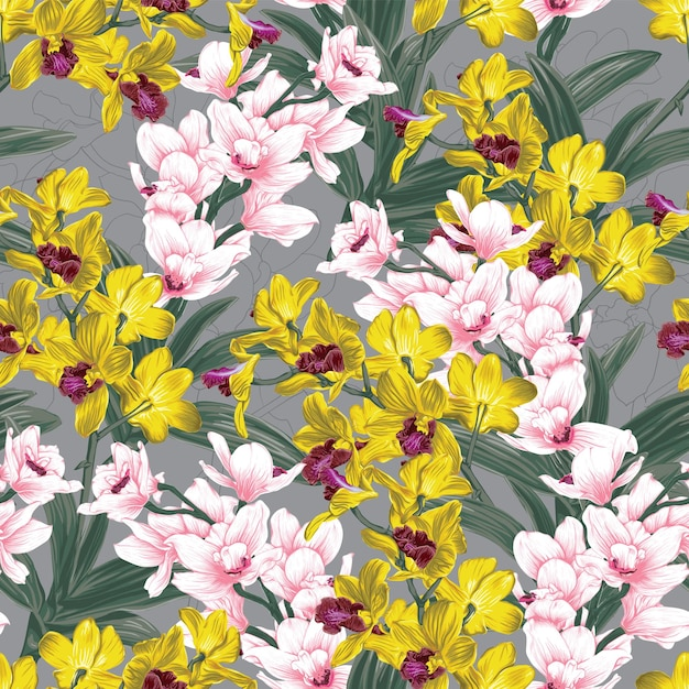 Seamless pattern floral with yellow and pink orchid flowers abstract background. Premium Vector