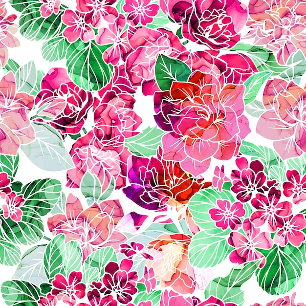 Seamless pattern, flowers with alcohol ink texture on background Premium Vector