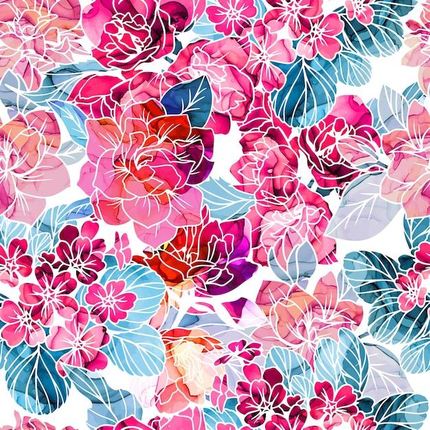 Бесшовный фон, цветы с текстурой чернил алкоголя Premium векторы