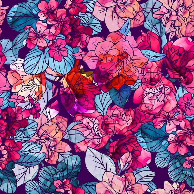 Seamless pattern, flowers with alcohol ink texture Premium Vector
