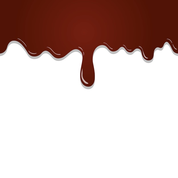 Seamless pattern flowing melted chocolate isolated on white background Premium Vector