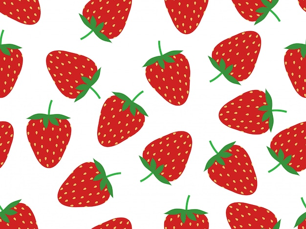 Seamless pattern of fresh strawberry Premium Vector