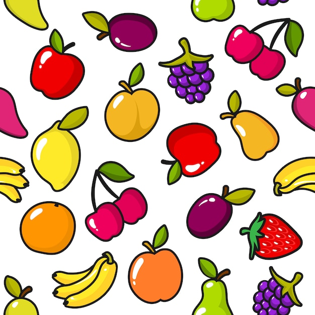 Seamless pattern of fruits with black outline Premium Vector