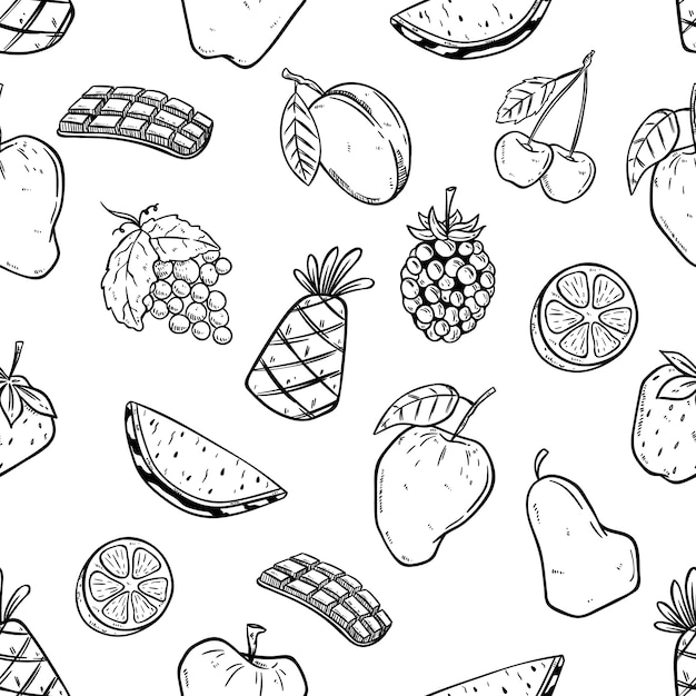 Seamless pattern of fruits with doodle style Premium Vector