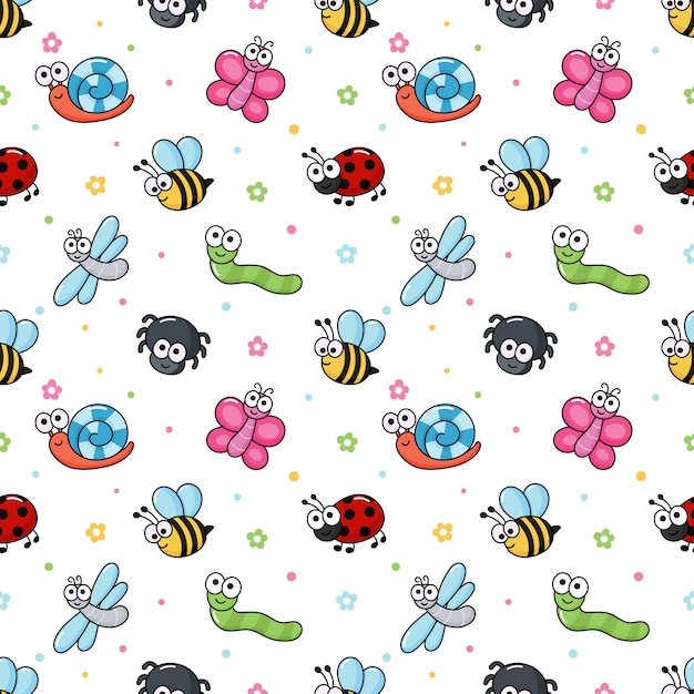 Seamless pattern funny bugs. cartoon insects Premium Vector
