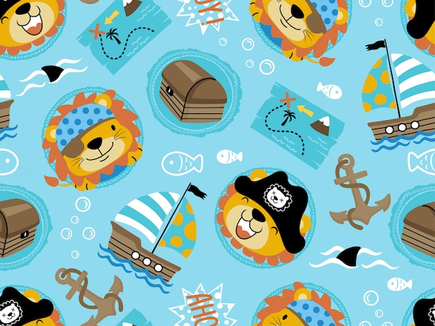 Seamless pattern of funny pirate theme set cartoon Premium Vector