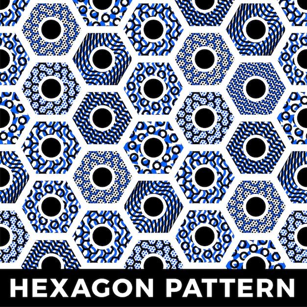 Seamless pattern geometric hexagon honey abstract background Premium Vector