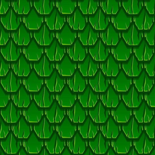 Seamless pattern of geometric old wooden green roof. textured background from hexagon planks. Free Vector