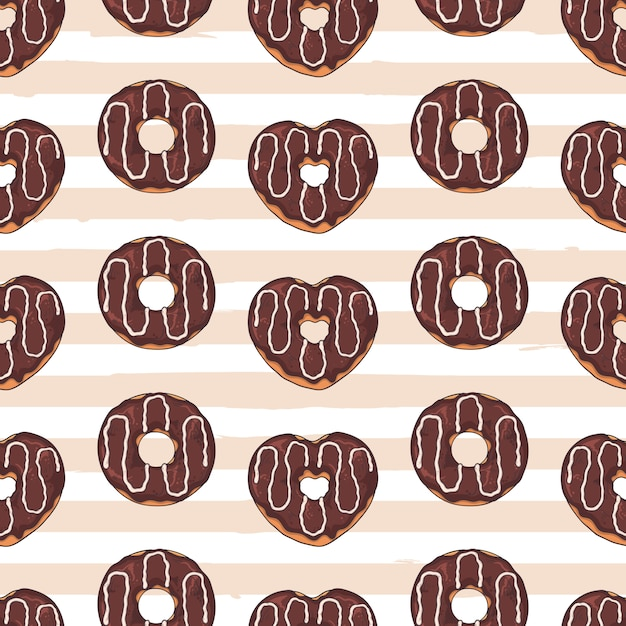 Seamless pattern. glazed donuts decorated with toppings, chocolate, nuts. Premium Vector