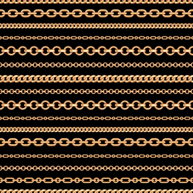 Seamless pattern of gold chain lines on black background Premium Vector