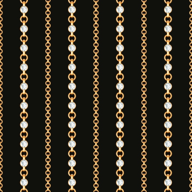 Seamless pattern of gold chain lines on black background. Premium Vector