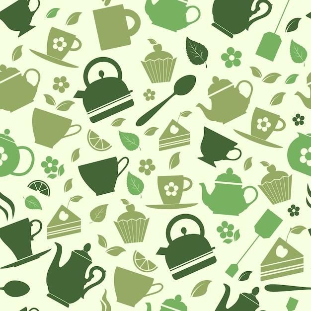 Seamless pattern of green tea flat illustrations Free Vector