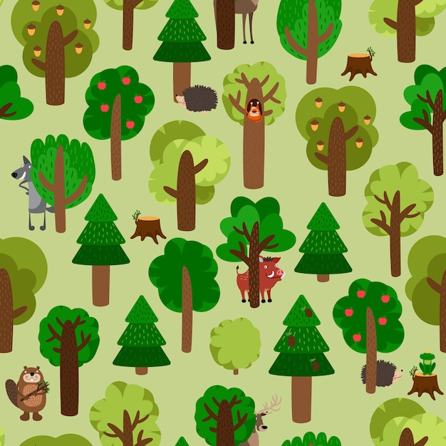 Seamless pattern of green trees with animals illustration set Free Vector