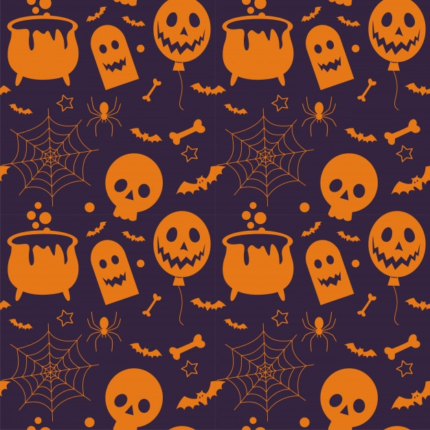 Seamless pattern of  halloween and element Premium Vector