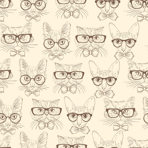 Seamless pattern hand drawn cats with hipster accessories Free Vector