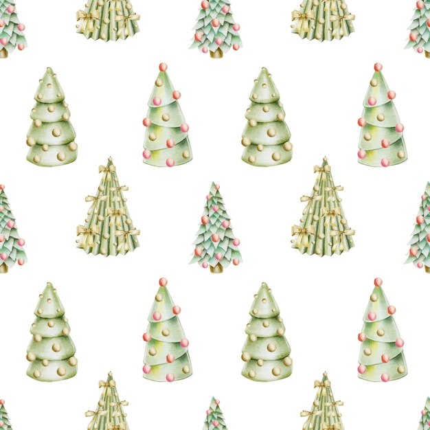 Seamless pattern of hand drawn christmas trees with decorations Premium Vector